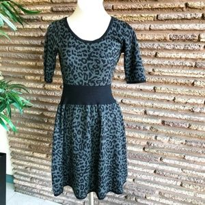 Just Taylor Leopard Print Fit and Flare Knit Dress